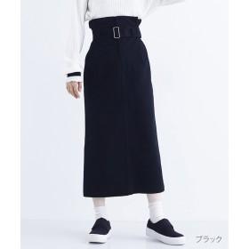 メルロー 太ベルト付きハイウエストナロースカート レディース ブラック FREE 【merlot】