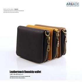 財布 メンズ 短財布(小銭入れあり)レザータッチ ラウンドファスナー 二つ折り PUレザー コンパクト ミニ財布 お札入れ レザーウォレット