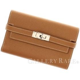 エルメス 財布 ケリーウォレット コンパクト ゴールド×シルバー金具 ヴォーエプソン A刻印 HERMES 三つ折り財布