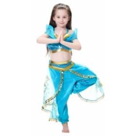衣装 プリンセスドレス ブルー コスチューム インディアン   ジャスミン姫 子供用 アラブ 中東|なりきりワンピース コスプレ