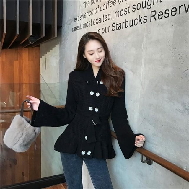 [55555SHOP] 韓国ファッション通販業界1位★新しいデザイン/女性服/シンプルスタイル/ダブルブレスト/細ベルトつき/ホーンスリーブ/セーターコート