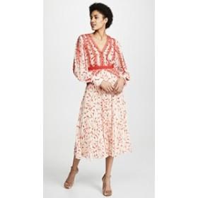 セルフ ポートレイト ドレス マキシドレス レディース【Self Portrait Chiffon Midi Dress】Cream/Red