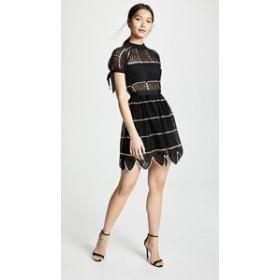 セルフ ポートレイト ドレス ブラック 黒ドレス レディース【Self Portrait Crochet Dress】Black