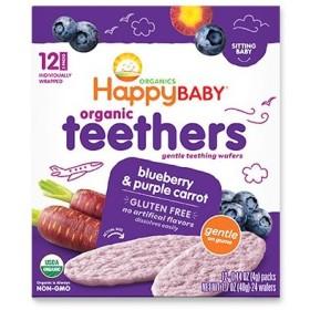 6か月からのオーガニックベビーフード Teethers ブルーベリー&紫ニンジン 24枚入り Happy BaBy ハッピーベイビー