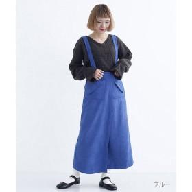 メルロー アシンメトリーヘムサスペンダー付きラップスカート レディース ブルー FREE 【merlot】