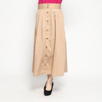 ジーラ GeeRA 前ボタンデザインロングチノスカート (ベージュ)