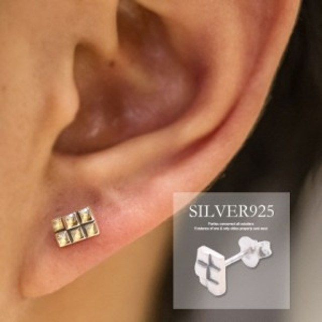 f021413cb7f403 SB select シルバーバレットセレクト スクエア ブロック デザイン シルバー925 片耳 ピアス/全1色
