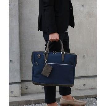 カッズ バッグ ビジネスバッグ メンズ A4対応 クッションポケット ビジカジ 通勤 ショルダー付き 2way ブリーフケース メンズ ネイビー F 【KAZZU】