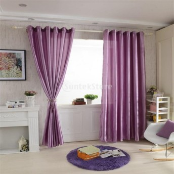 6色2サイズ選べる ブラックアウト 窓 カーテン サテンカーテン 窓ブラインド ロッドポケットカーテン エレガント - パープル, 150x250cm