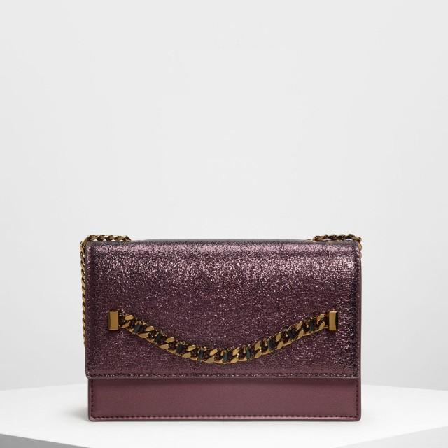 チェーンディテール フロントフラップバッグ / Chain Detail Front Flap Bag (Prune)