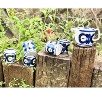 【波佐見焼】マジョリカ茶器セット ポット1個+カップ5個 スーパステンレス茶こし OA52