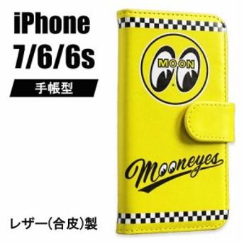 ムーンアイズ iPhone ケース 手帳型 iPhone7/6/6s アイフォンケース カバー ジャケット 車 バイク MOONEYES イエロー_SA-MG760YE-MON