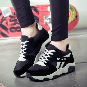 韓国ファッションスニーカー レディース 黒 厚底 スポーツ レースアップ ランニング ウォーキング ジョギング ローカット 靴 滑り止め カジュアル シューズ 靴 美脚 可愛い