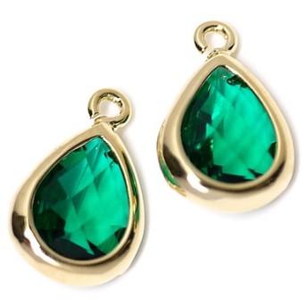 新作【2個入り】EmeraldカラーガラスTiny Drop形ゴールドチャーム