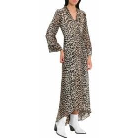 ガニー ドレス カジュアルドレス 結婚式用 レディース【Ganni Mullin Leopard Print Wrap Dress】Marrone