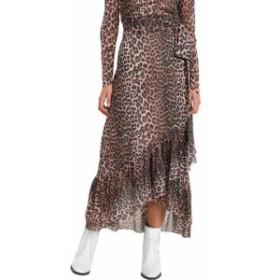 ガニー スカート レディース【Ganni Leopard Motif Wrap Skirt】Marrone