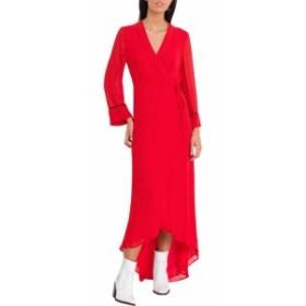 ガニー ドレス カジュアルドレス 結婚式用 レディース【Ganni Mullin Polka Dots Wrap Dress】Rosso