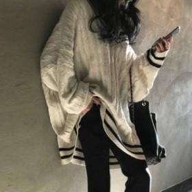 ニット セーター ゆったり レディース クルーネック チュニック ゆったり 長袖 秋冬 冬物 トップス プルオーバー おまけ付き 0514