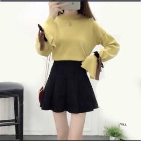 セットアップ レディース 上下セット リボン付 袖コンシャス ミニスカート 秋冬 韓国ファッション 可愛い 10代 20代 0640