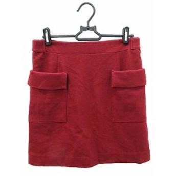 【中古】スピック&スパン Spick&Span  Pour Belle Femme スカート ひざ丈 台形 36 赤 レッド /AST10 レディース