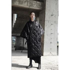 ダークウィンター冬の日本の着物ストラップローブロングコートコットンコートジャケット女性