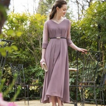 ドリードール(Dorry Doll)/シアースリーブアイラインセミロング丈ワンピースドレス《LONG DRESS》