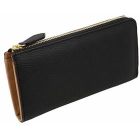 高級牛革 ドイツシュリンク 本革 L字ファスナー型 長財布 ブラック(黒)
