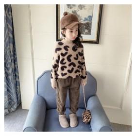 【KIDS】レオパード柄がかわいい あったかモヘアニット セーター ヒョウ柄 ふわふわ ニット ラウンドネック 女の子コーデ