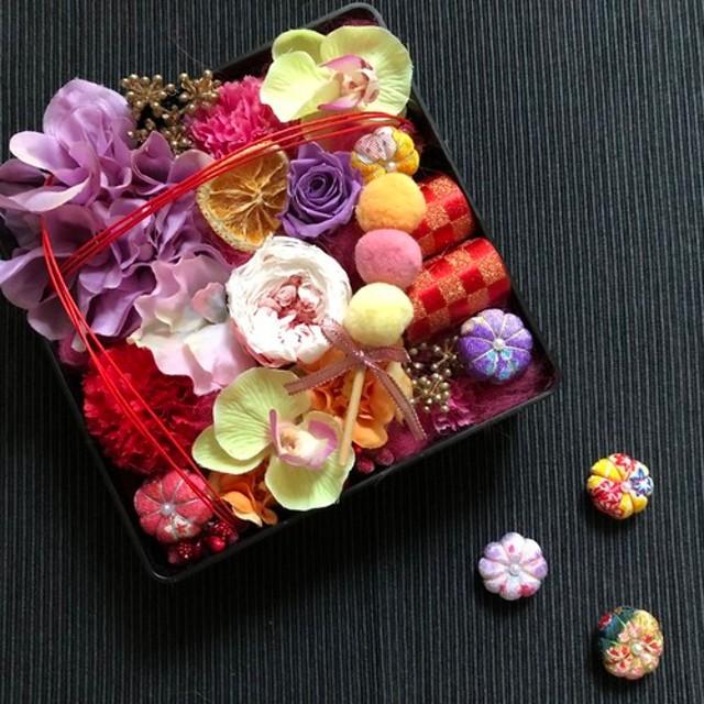 お花いっぱい*華手箱アレンジ*ピンクムラサキ