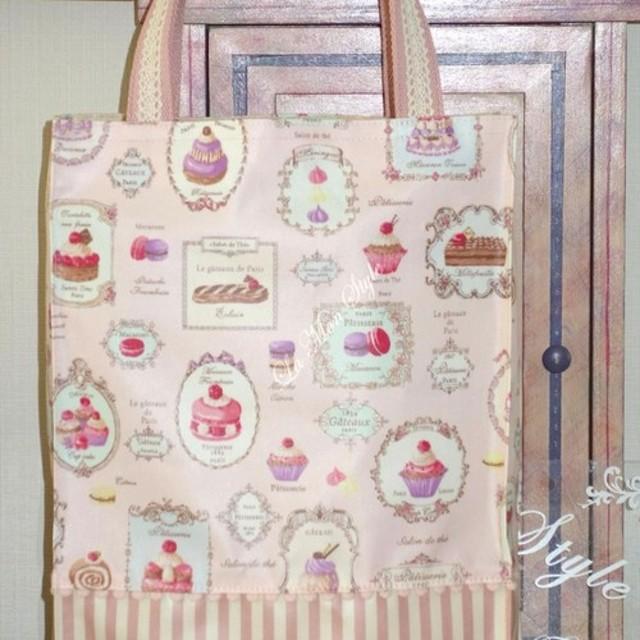 【ラミネート】パリのカフェ風トートバッグ ピンク&ピンクストライプ