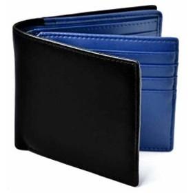 Le sourire 二つ折り 財布 本革 大容量 カード 18枚収納 新設計のボックス型小銭入れ メンズ ブラック×ブルー[00044BU](ブラック/ブルー