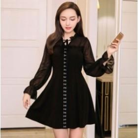 秋 冬 韓国ワンピース ドレス シースルー きれいめ リボン 無地 40代 20代 50代 30代 10代 お出かけ お呼ばれ