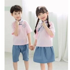 子供服 チャイナ学園風シャツ 刺繍 制服 可愛い 女の子 男の子 上下2点セット 半袖 半ズボン スカート 学生服子ども