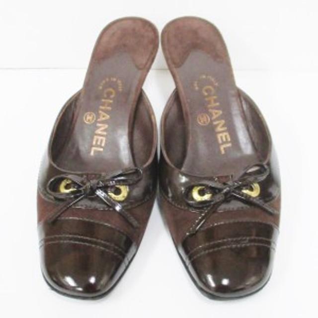 52219f9d0edb シャネル CHANEL スエード パテント リボン 37 1.2 靴 パンプス ミュール レディース 小物【中古】