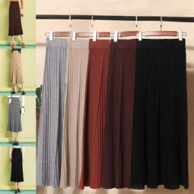 【 送料無料】ニットスカート ロング ミックスニットスカート ウエストゴム A型スカート ハイウエスト リブ編みスカート カジュアル 防寒