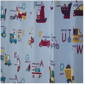 【お取寄せ商品】ユニベール Birdie 形状記憶カーテン のりもののなまえ 100×135cm 2枚組