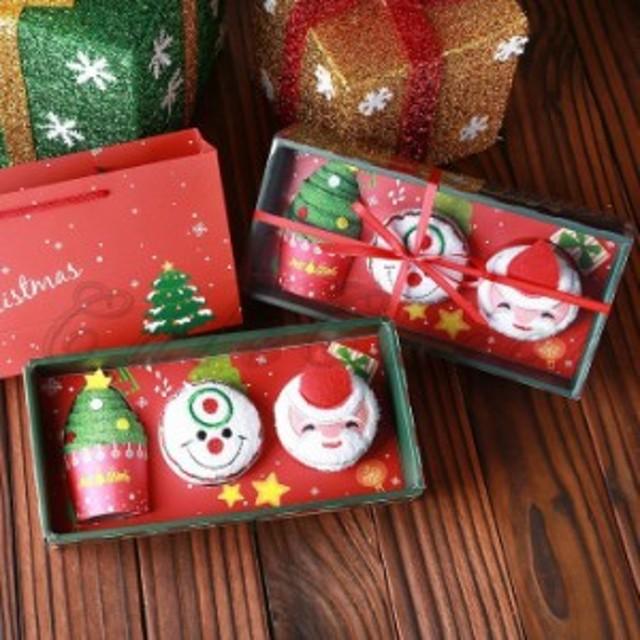 クリスマス ケーキタオル/3枚セット/サンタと雪だるまとクリスマスツリーケーキタオル/綿/3030cm/クリスマス装飾/サンタクロー