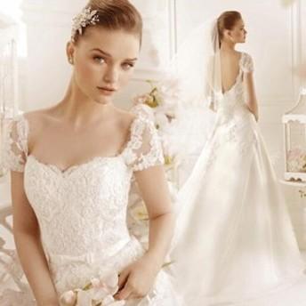 Aライン/ウェディングドレス/ウエディングドレス/トレーン/レース/刺繍/ファスナータイプ/ホワイト/XS~XXL/wd36