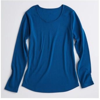 UVカット綿100%フライス素材クルーネック長袖Tシャツ