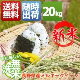 無洗米 20kg 送料無料 ミルキークイーン 5kg×4袋 長野県産 30年産 1等米 米 20キロ お米 クーポン対象