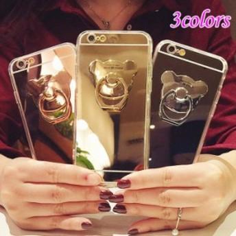iPhone8ケース iPhone8プラスカバー 鏡 アイフォン iPhone8/8Plus/7/7Plus/6Plus/6sPlus/6/6s/5/5sリングステント付き 携帯カバ
