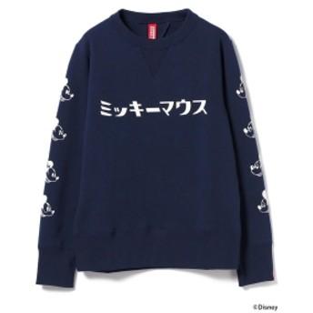 LOOPWHEELER × BEAMS JAPAN / 別注 吊り裏毛 袖プリントスウェット Mickey メンズ スウェット NAVY M