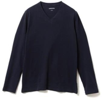 three dots / 別注 ロングスリーブ Vネックカットソー メンズ Tシャツ NIGHT IRIS/781 M