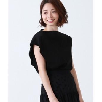 【4/19再値下げ】【洗える】Demi-Luxe BEAMS / スラッシュネック アシメフリル プルオーバー レディース Tシャツ BLACK ONE SIZE