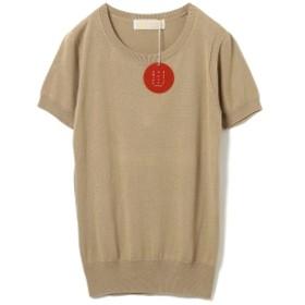 B:MING by BEAMS / BBB ハイゲージ クルーネック 半袖Tシャツ レディース ニット・セーター BEIGE S