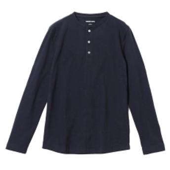 three dots / ロングスリーブ ヘンリーネックカットソー メンズ Tシャツ NIGHT IRIS/781 M