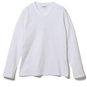 three dots / 別注 ロングスリーブ Vネックカットソー メンズ Tシャツ WHITE/001 L