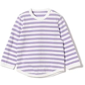 こども ビームス / 1cmボーダー 長袖 ベビーTシャツ (80~90cm) キッズ Tシャツ ラベンダー / ホワイト XS(80-90)