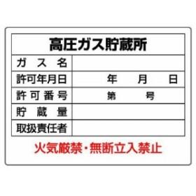 ユニット 高圧ガス標識 827-56 高圧ガス貯蔵所