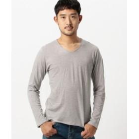 BEAMS / 天竺 Vネック カットオフ Tシャツ メンズ Tシャツ T.GRAY M
